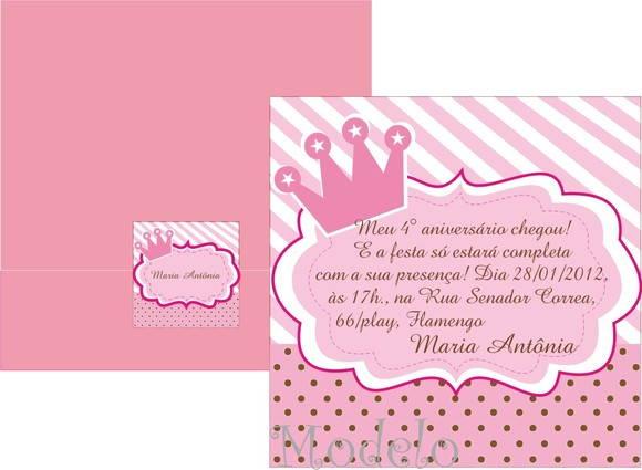 Convite Princesa Provençal Rosa E Marrom No Elo7