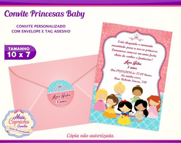 Convite Princesas Baby No Elo7