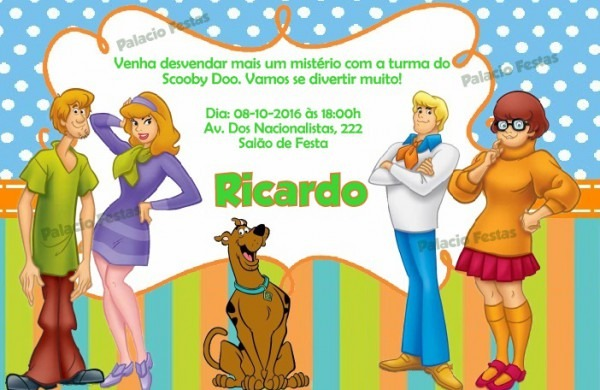 Convite Scooby Doo No Elo7