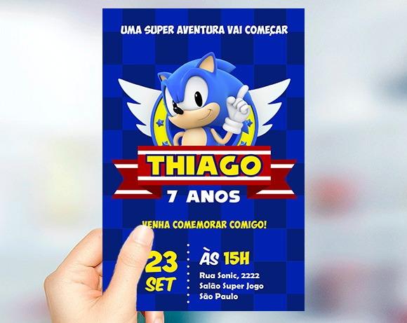 Convite Sonic Digital No Elo7