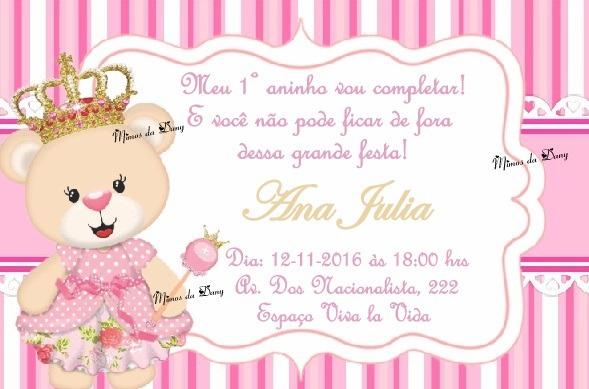 Convite Ursinha Princesa No Elo7