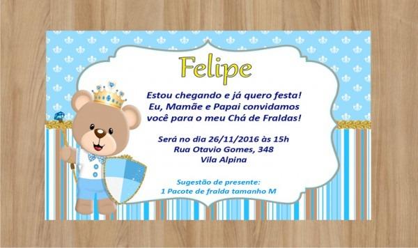 Convite Ursinho Príncipe 10x7cm No Elo7