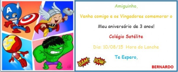 Convite Vingadores Baby No Elo7