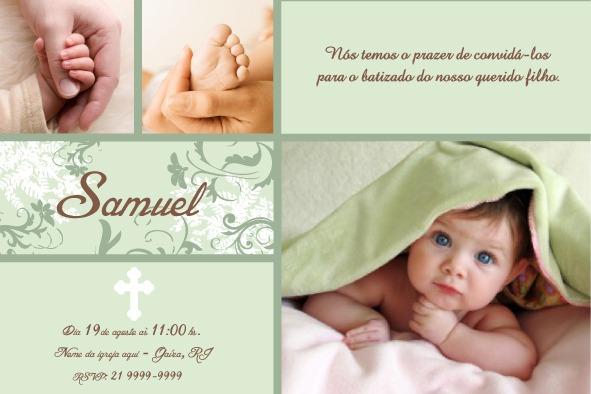 Convite De Batizado Samuel No Elo7
