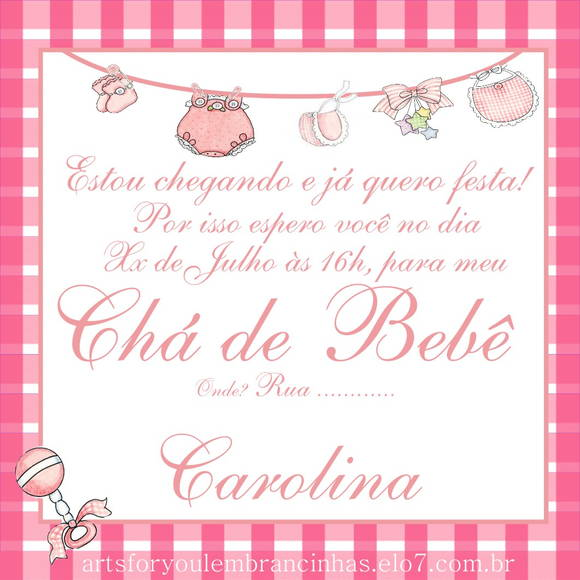 Convite De Cha De Bebe Online Gratis