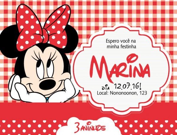 Convite Zap (virtual) Minnie Vermelh No Elo7