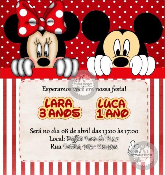 Convite Virtual Mickey E Minnie No Elo7