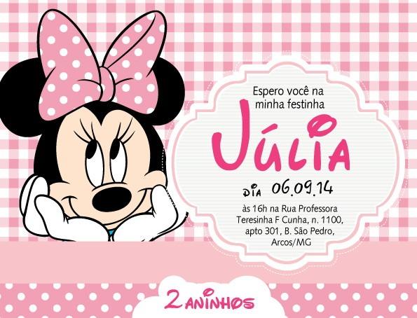 Convite Zap (virtual) Minnie Rosa No Elo7
