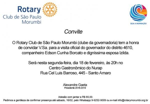 Convite Para Visita Oficial De Governador De Rotary – Dia 18 02