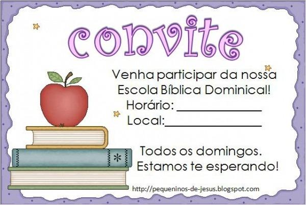 Pequeninos De Jesus  Convites Para Ebd
