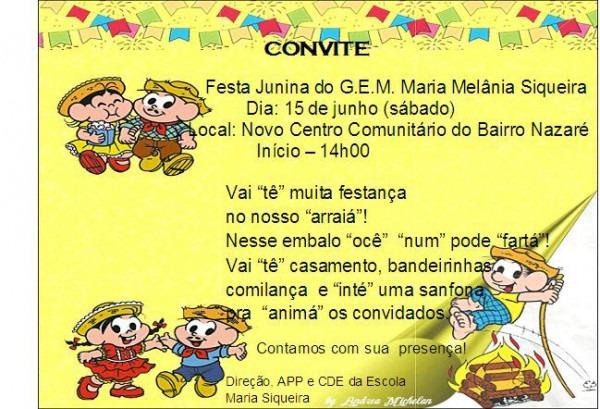 Grupo Escolar Municipal Maria Melânia Siqueira  Convite Para A