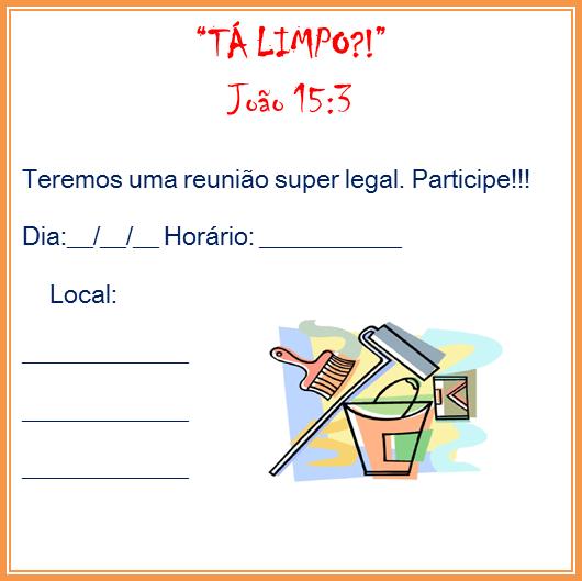 Ministério Adolescentes  ReuniÃo TemÁtica   TÁ Limpo !