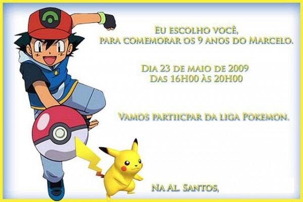 Xênia  Convite Infantil Pokémon