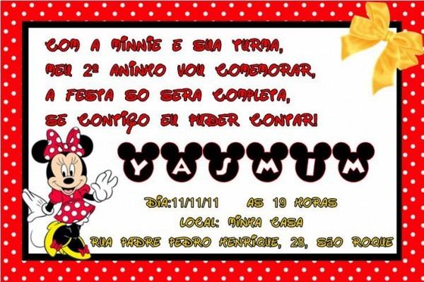 J³ Artedigital  Convite Minnie