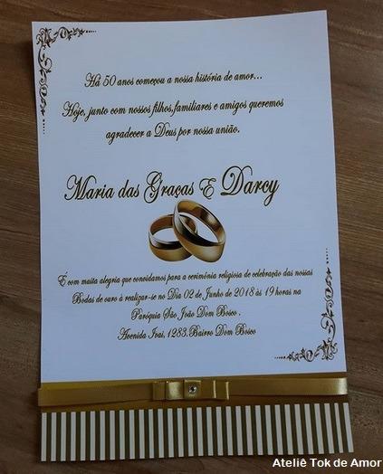 42 Convites Bodas De Ouro Elegantíssimos & Dicas De Mensagens!