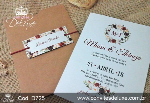 Convite De Casamento Simples, Barato, Rústico Marsala Floral