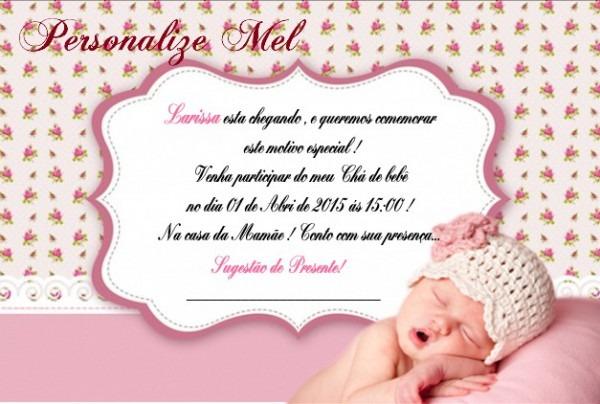 Convites Chá De Bebê Menina10 Und