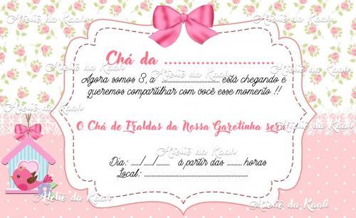 Convites Digital Chá Fralda Menina