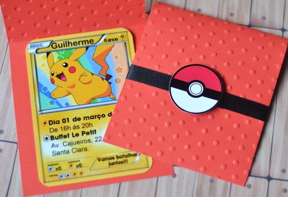 Convite Carta Pokemon Scrap Com Relevo