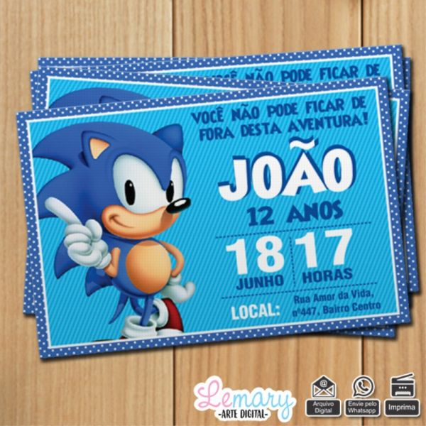 Convite Digital Sonic Mod 0001