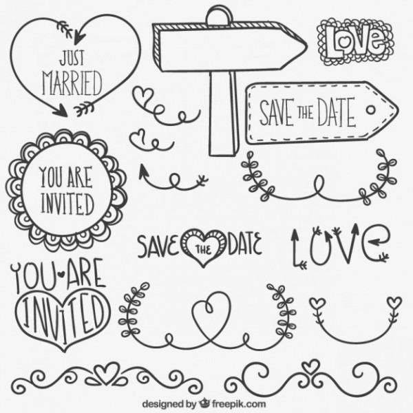 Desenhadas Mão Enfeites De Casamento