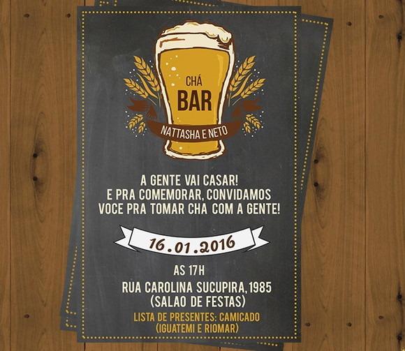 Digital  Convite Chá Bar   Aniversário! No Elo7