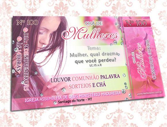 Convite Chá De Mulheres Rosa Canhoto