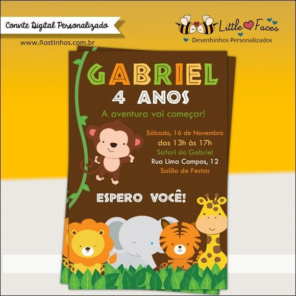 Convite Festa Safari Selva Digital Embarque Nessa Aventura Na