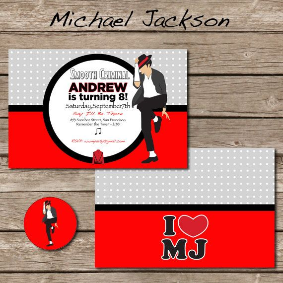 Michael Jackson Party Invitation With Envelope Seal