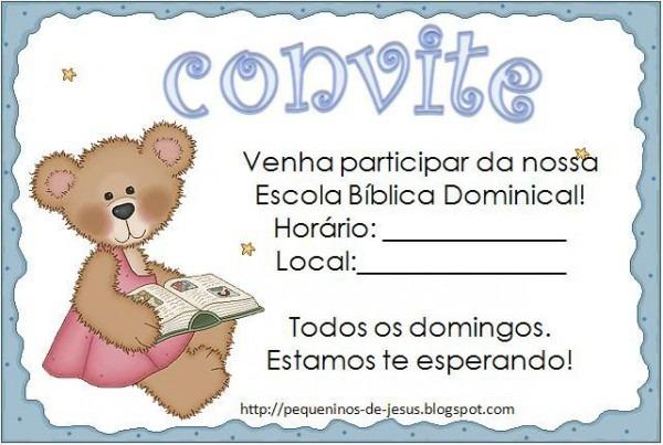 Convite Para Escola Bíblica Dominical – Convite Infantil