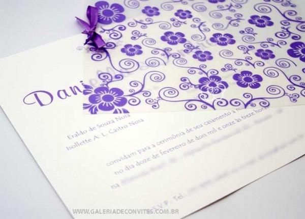 Modelo 42  Convite De Casamento Floral Em Tons De Lilás E Branco