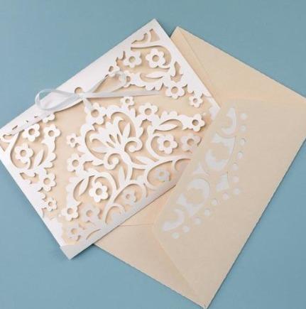 Envelope E Convite De Casamento Vazado Floral Silhouette