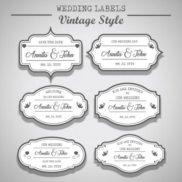 Etiquetas De Casamento Branco Estilo Vintage, Design De Etiquetas