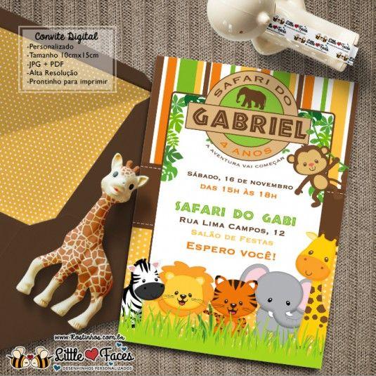 Convite Festa Safari Selva Para Imprimir