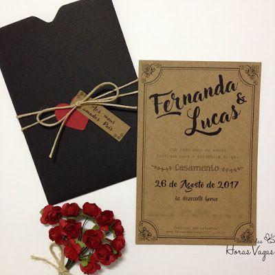 Convite De Casamento Rústico Papel Kraft Estampa Vintage Envelope