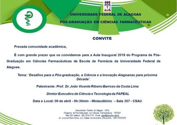 Convite Para Aula Inaugural Do Ppgcf, Turma 2018 1 — Português