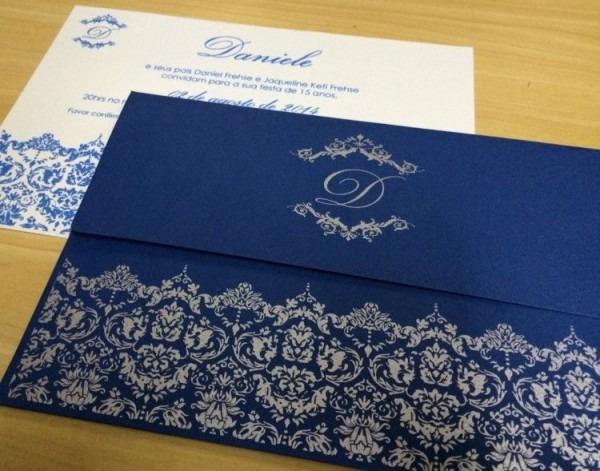 Convite 15 Anos Envelope Azul