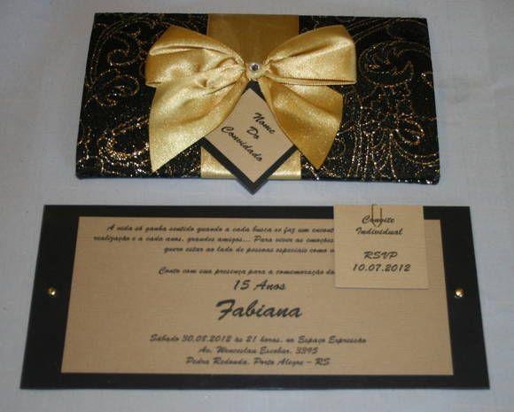 Convite Aniversário 15 Anos Preto E Dourado