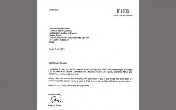 Blatter Aceita Convite Do Senado, Que Espera Viagem Para Votar Lei