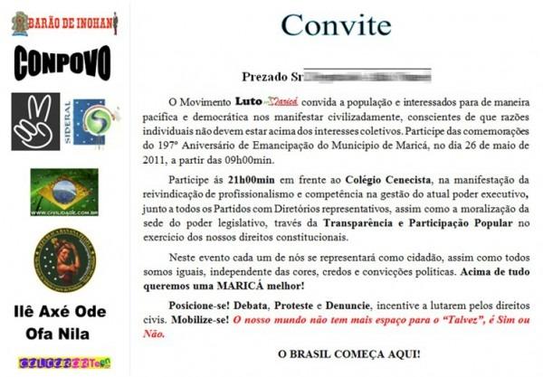 Convite Modelo 01 Para O Aniversário De Maricá 2011