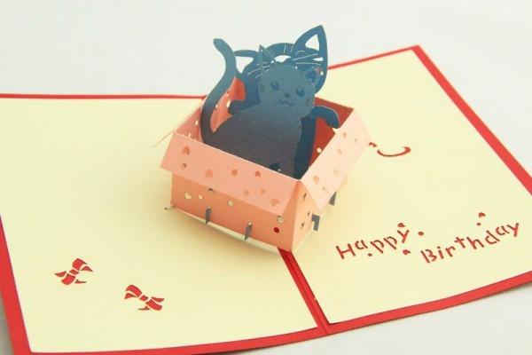 Compre Greenfox Cartão De Aniversário Gatinha Caixa De Convites