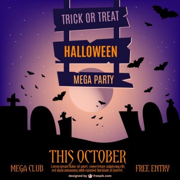 Halloween Modelo Do Convite Do Vetor