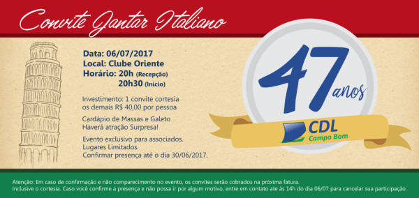 Convite Jantar Italiano