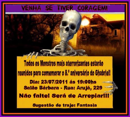 Convite Halloween 4 Modelos De Convite