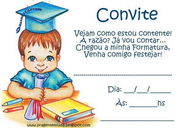 Convite De Formatura Infantil – Modelos De Convite