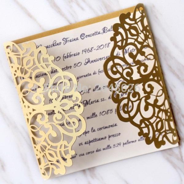 Iniciais Personalizadas 50 Pcs Gatefold Ouro Do Convite Do