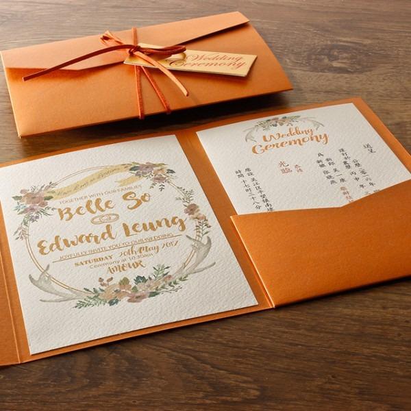Laranja Envelope Convites De Casamento, Cartão Do Convite Do