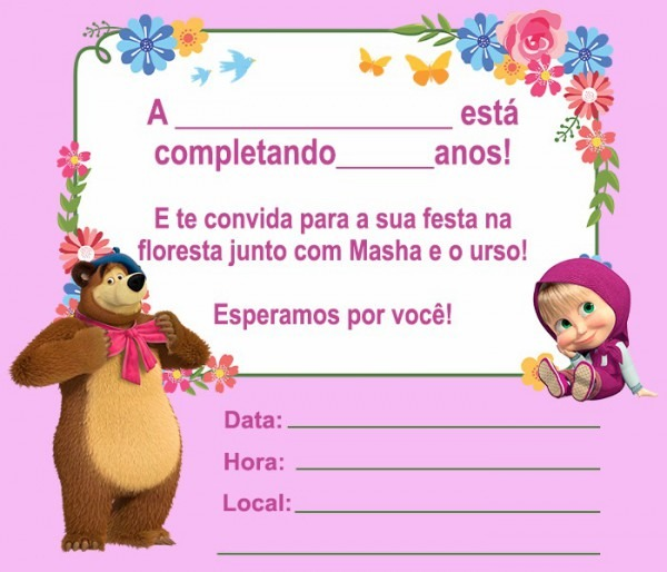 13 Convites Da Masha E O Urso Para Editar – Modelos De Convite