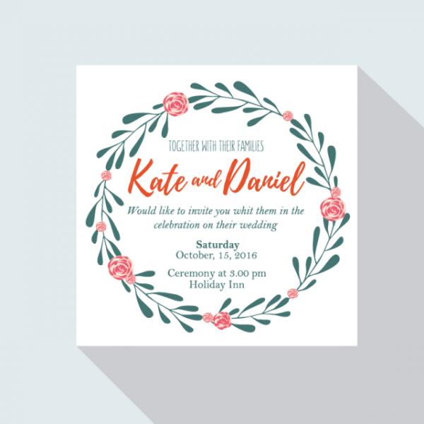 Convite De Casamento Com Coroa De Flores Modelo Para Download