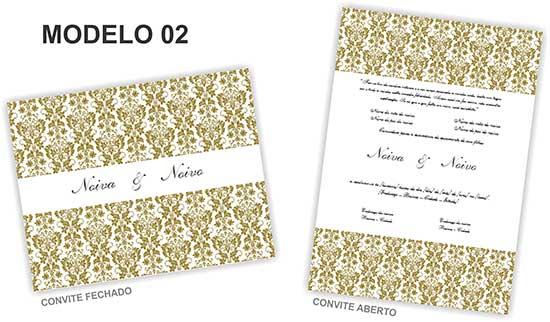 Modelo 2] Convite De Casamento Clássico, Simples De Fazer E Bonito